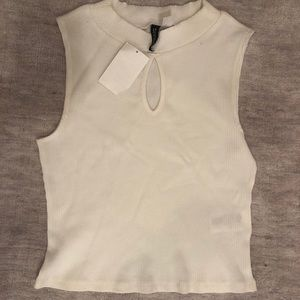 White ribbed tank top with a keyhole cut-out